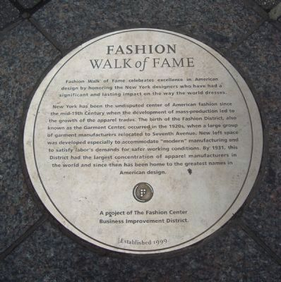 Fashion Walk of Fame Marker Photo, Click for full size