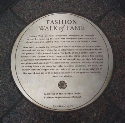 A Duplicate Fashion Walk of Fame Marker Photo, Click for full size
