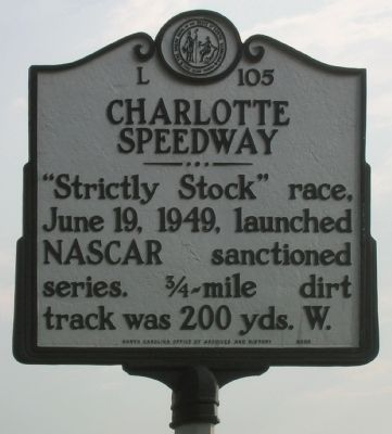 Charlotte Speedway Marker Photo, Click for full size