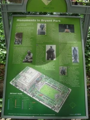 Monuments in Bryant Park Marker image. Click for full size.
