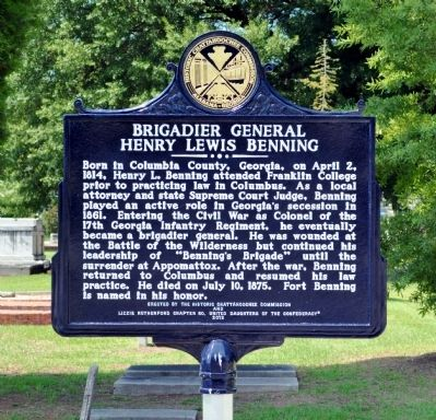 Brigadier General Henry Lewis Benning Marker Photo, Click for full size