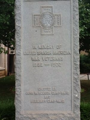 United Spanish American War Veterans Memorial Marker Photo, Click for full size