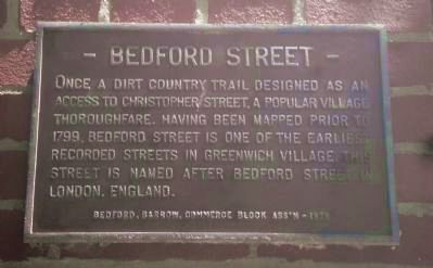 Bedford Street Marker Photo, Click for full size