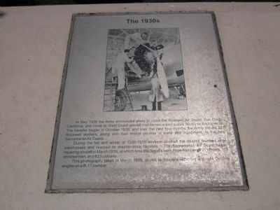 McClellan Air Force Base Marker - Panel 1b - The 1930's Photo, Click for full size
