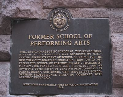 Former School of Performing Arts Marker image. Click for full size.