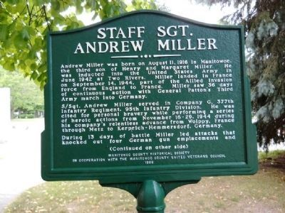 Staff Sgt. Andrew Miller Marker (side 1) Photo, Click for full size