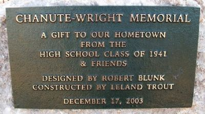 Chanute - Wright Memorial Marker image. Click for full size.