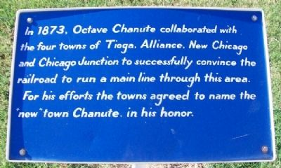 Octave Chanute and the Founding of the Town of Chanute Marker image. Click for full size.