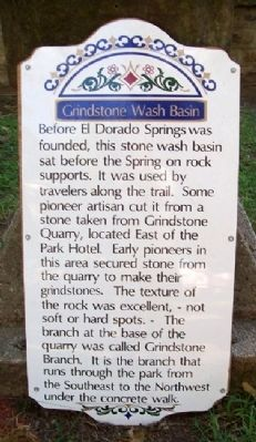 Grindstone Wash Basin Marker Photo, Click for full size
