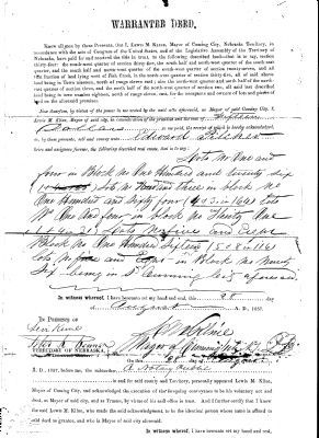 Cuming City Cemetery Warrantee Deed image. Click for full size.