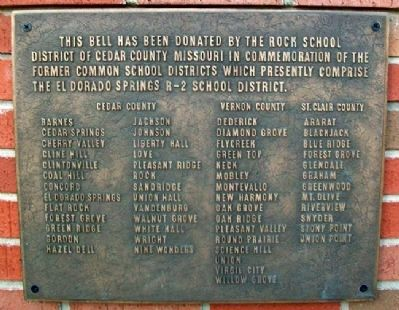 Former School Districts in El Dorado Springs R-2 Marker Photo, Click for full size