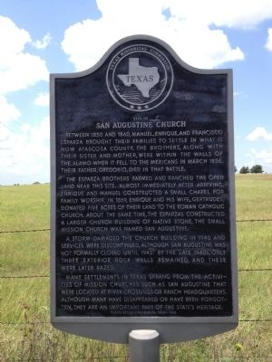 Site of San Augustine Church Marker Photo, Click for full size