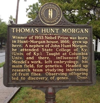 Thomas Hunt Morgan Marker (obverse) image. Click for full size.