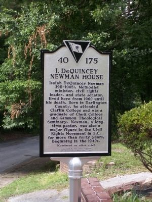 I. DeQuincey Newman House Marker image. Click for full size.