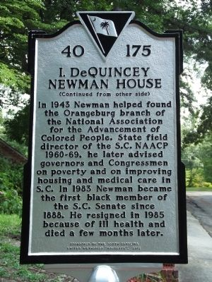 I. DeQuincey Newman House Marker Reverse image. Click for full size.