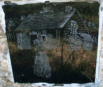 Aunt Polly Crosby's Cabin Site Drawing on Marker image. Click for full size.