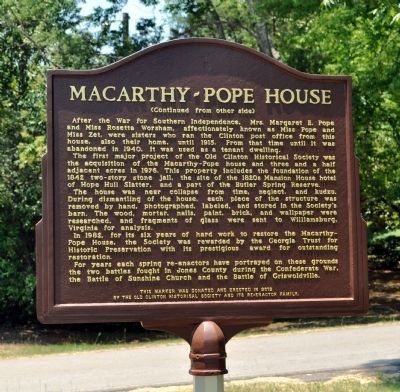 Macarthy~Pope House Marker, Side 2 image. Click for full size.
