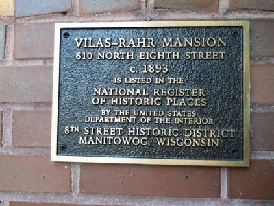 Vilas - Rahr Mansion Marker image. Click for full size.