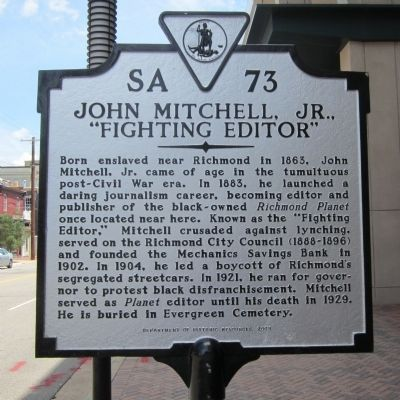 "John Mitchell, Jr., ""Fighting Editor"" Marker image. Click for full size."