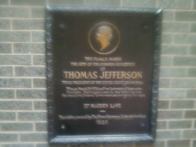 Former residence of Thomas Jefferson Marker image. Click for full size.