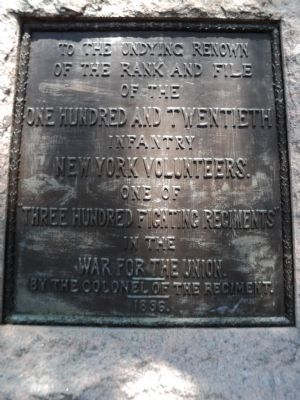 One Hundred and Twentieth Infantry New York Volunteers Marker image. Click for full size.