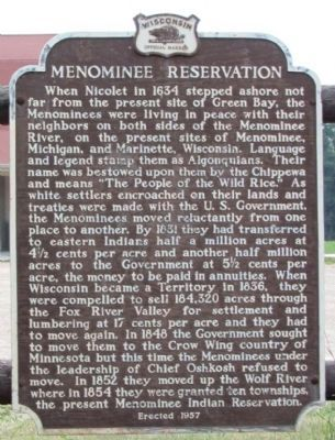 Menominee Reservation Marker image. Click for full size.