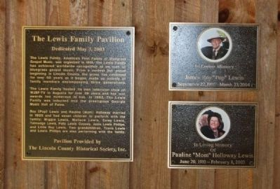 The Lewis Family Pavilion Marker image. Click for full size.
