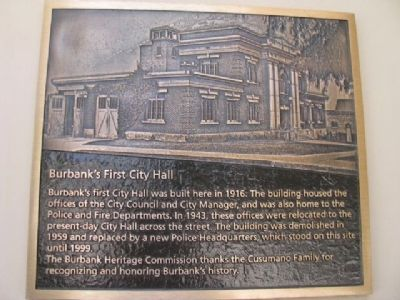 Burbank's First City Hall Marker image. Click for full size.