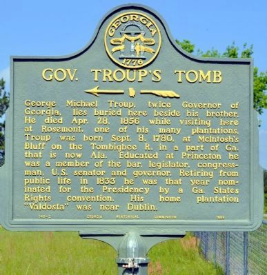 Gov. Troup's Tomb Marker image. Click for full size.
