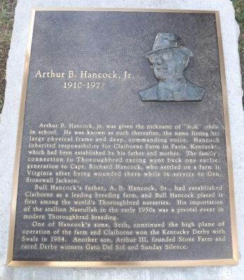 Arthur B. Hancock, Jr. Marker Photo, Click for full size