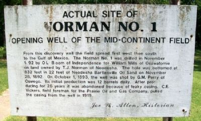 Actual Site of Norman No. 1 Marker image. Click for full size.