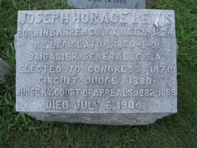 Joseph Horace Lewis grave stone Photo, Click for full size