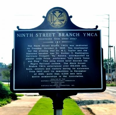 Ninth Street Branch YMCA Marker (Side 2) image. Click for full size.
