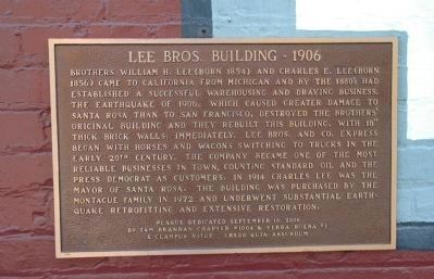 Lee Bros. Building - 1906 Marker Photo, Click for full size