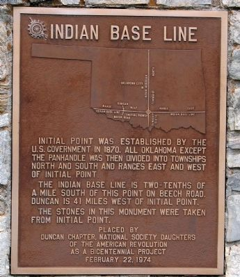 Indian Base Line Monument - Close-Up image. Click for full size.