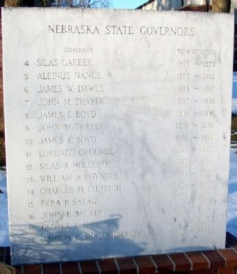 Territory and State of Nebraska Governors Marker image. Click for full size.