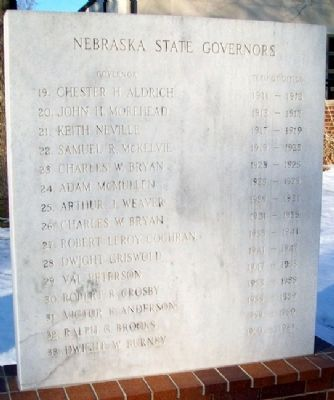 Territory and State of Nebraska Governors Marker Photo, Click for full size
