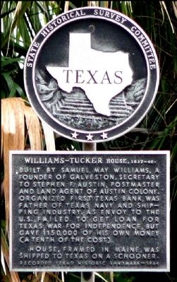 Williams-Tucker House, 1837-40 Marker image. Click for full size.