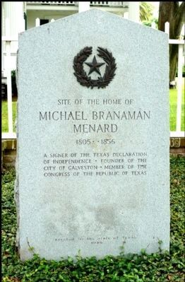 Site of the Home of Michel Branamour Menard Marker image. Click for full size.