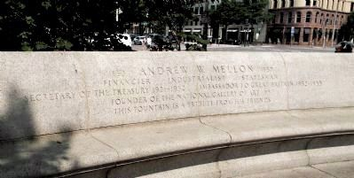 Andrew W. Mellon Memorial Fountain: bench marker inscription image. Click for full size.