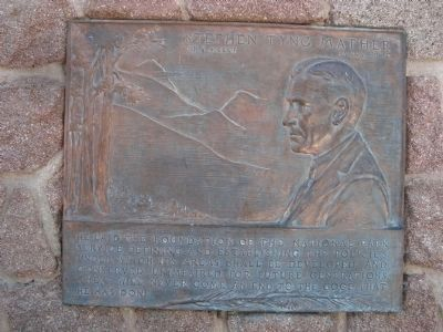 Plaque to Stephen Tyng Mather, founder of the National Parks Service, image. Click for full size.