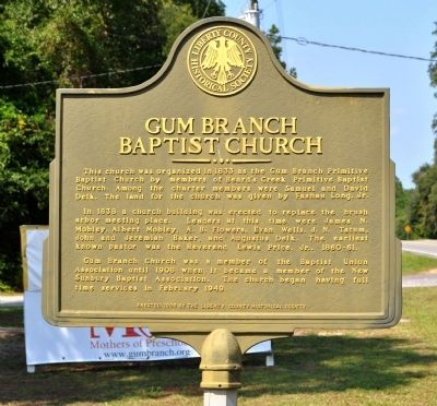 Gum Branch Baptist Church Marker image. Click for full size.