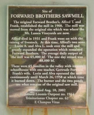 Forward Brothers Sawmill Marker image. Click for full size.