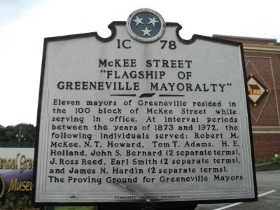 "McKee Street ""Flagship of Greeneville Mayoralty"" Marker image. Click for full size."