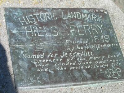 Historic Landmark Hills Ferry Marker Photo, Click for full size