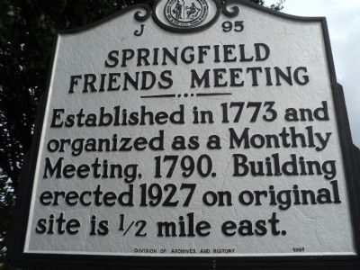 Springfield Friends Meeting Marker Photo, Click for full size