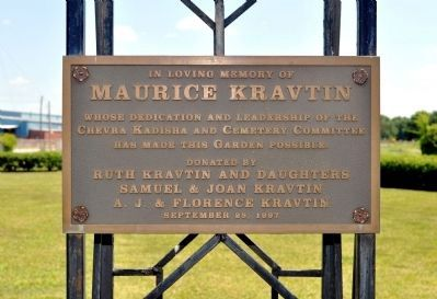 Plaque on Wrought Iron Gate to Kravtin Garden image. Click for full size.