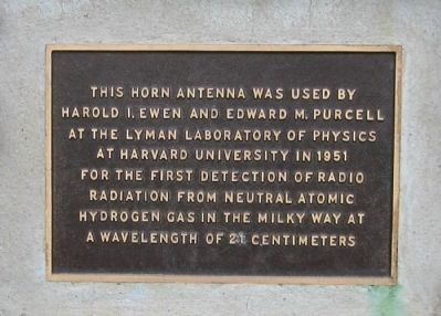 Ewen-Purcell Horn Antenna Marker Photo, Click for full size