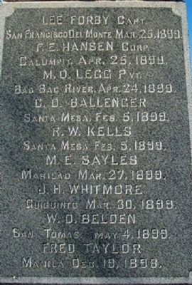 Spanish- American War Memorial Honored Dead image. Click for full size.