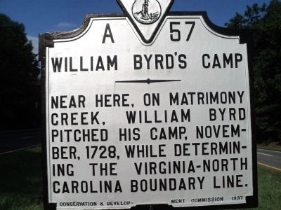 William Byrd�s Camp Marker Photo, Click for full size